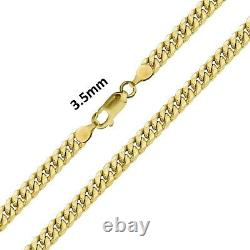 Real 10k Yellow Gold Mens / Women Miami Cuban Link Bracelet / Anklet 3.5 mm, 10