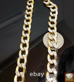 Real 10k Yellow Gold Miami Cuban Link Chain Necklace Diamond Cut 11MM, 19 Inch N