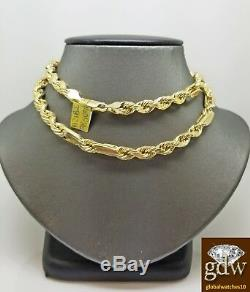 Real 10k Yellow Gold Milano Rope Chain Necklace 30 Inch 8mm, Palm, Cuban
