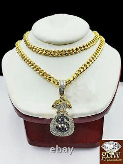 Real 10k Yellow Gold Money Bag Charm with Real Diamond and 24 Miami Cuban Chain