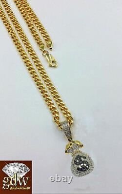 Real 10k Yellow Gold Money Bag Charm with Real Diamond and 26 Miami Cuban Chain