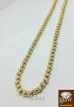 Real 10k Yellow Gold Moon Cut Chain Necklace, 26 Inch 4mm Rope, Cuban, Franco, N