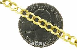 Real 14K Yellow Gold 5mm SOLID Curb Cuban Chain Link Necklace Lobster Clasp- 24