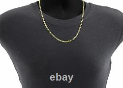 Real 14K Yellow Gold Pure 3.5mm 20in Cuban Curb Link Chain Pendant Necklace- 20