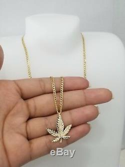 Real 14k Yellow Gold Weed Marijuana Pendant Charm Solid 18 inch Cuban Chain