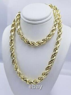 Real Gold 10k Rope Necklace Mens Chain 8mm 18-30 Inch Yellow Gold Diamond Cuts