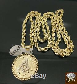 Real Gold 10k masonic Charm Pendent With the cuban Design, For Men's, Mason, N