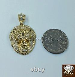 Real Mens 10k Gold Lion Head Charm Pendant with 28 Inch Miami Cuban Link Chain