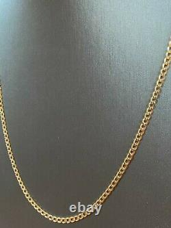 Real Solid 14k Yellow Gold Cuban Link Chain Necklace Mens Ladies 3.5mm 20-26