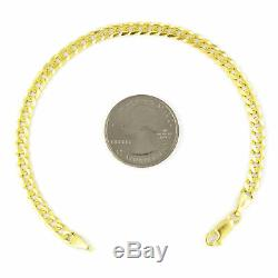 Solid 10K Yellow Gold Real 5mm Italian Cuban Link Curb Chain Bracelet 7 8 9