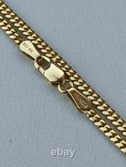 Solid 10k Gold Men's 2mm Tight Link Miami Cuban Link Chain 20 22 24 Necklace