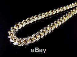 Solid 10k Yellow Gold Miami Cuban 6MM Link With Diamonds 24 inch Chain 7.0ct
