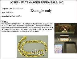 Solid 14K Gold Miami Men's Cuban Curb Link Chain Necklace 26 Heavy 289.4gr 12mm