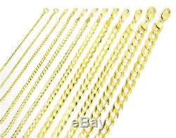 Solid 14K Yellow Gold 1.5mm-12mm Curb Chain Cuban Link Necklace Bracelet 7- 30