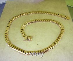 Solid 14K Yellow Gold Men's Cuban Link Chain Necklace 24 Heavy 221.6 grams 11mm