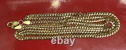 Solid 14K Yellow Gold Miami Cuban Chain Necklace 11.6 Grams 24 Inches