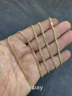Solid 14k Gold Miami Cuban Link Chain 3mm Necklace Great For Mens Pendant 18-30