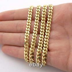Solid 14k Yellow Gold 5mm Miami Cuban Link Chain Necklace 20 Box Clasp