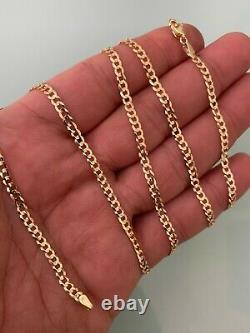 Solid 14k Yellow Gold Miami Cuban Link Chain Thin Necklace Mens Or Ladies 18-24