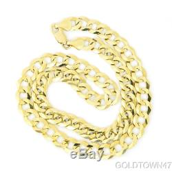 Solid Men's Cuban Chain In 10K Yellow Gold 8.2mm Curb Necklace