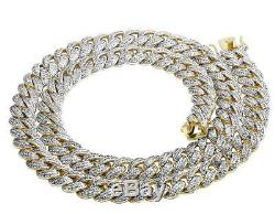 Solid Yellow Gold Finish Miami Cuban Simulated Diamond Necklace Chain 30 15MM