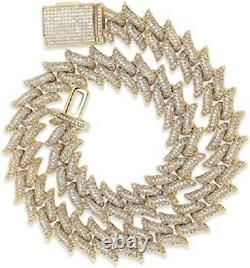 Spiked Cuban Link Mens 24inch Chain 14k Yellow Gold Over Round Cut Diamond