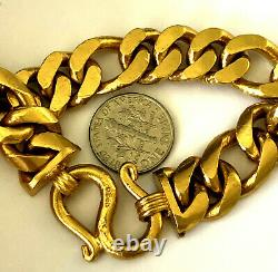 Stunning Pure 24K 999.9 Solid Yellow Gold Heavy Mens Cuban Link Bracelet 7.75'