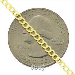 Unisex 10K Real Yellow Gold 2.5mm Dainty Curb Cuban Link Chain Necklace 16- 26