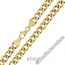Unisex Vintage 14K Yellow Gold 22 7mm Heavy Cuban Curb Link Chain Necklace 27g