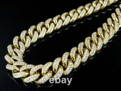 Yellow Gold Mens 12MM Miami Cuban Link Genuine Diamond Chain Necklace 23.5 Ct